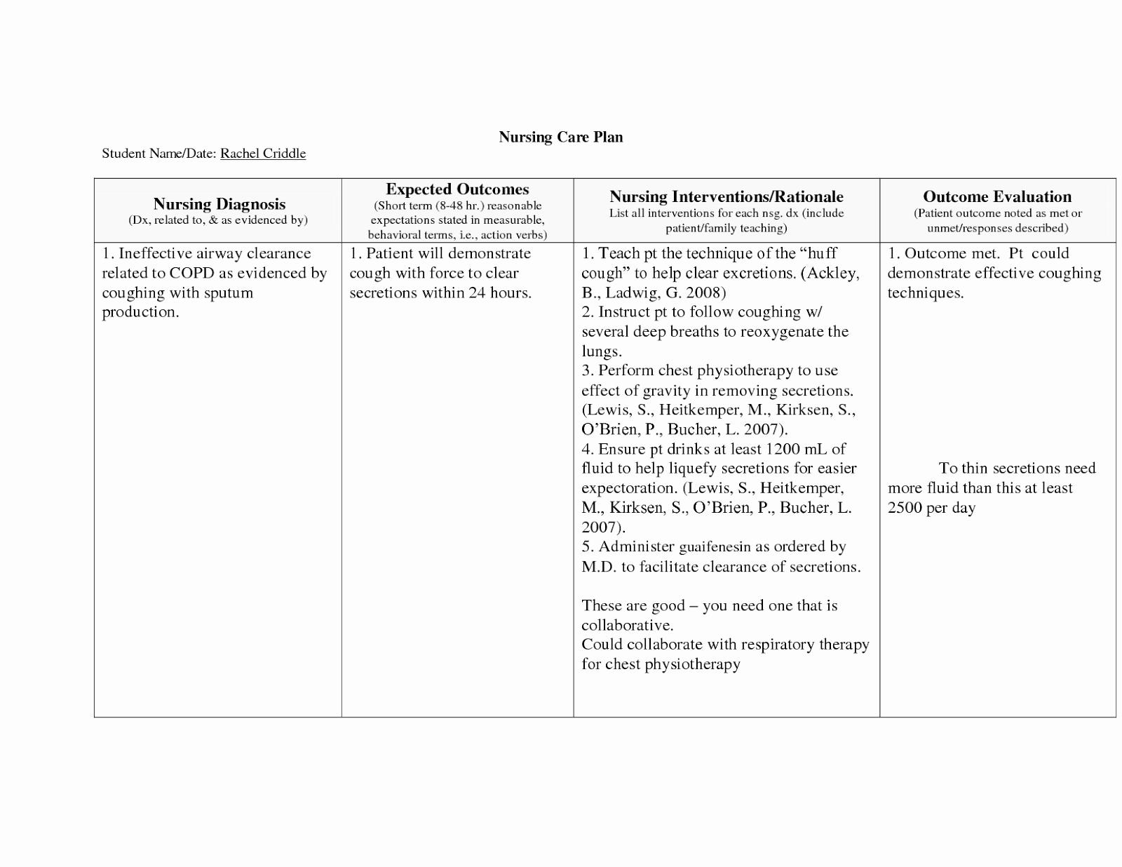 Nursing Care Plans Template Best Of Copd Nursing Care Plan Nursing Care Plan Examples