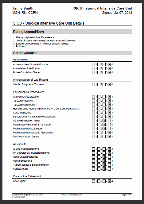 sample nursing skills checklist