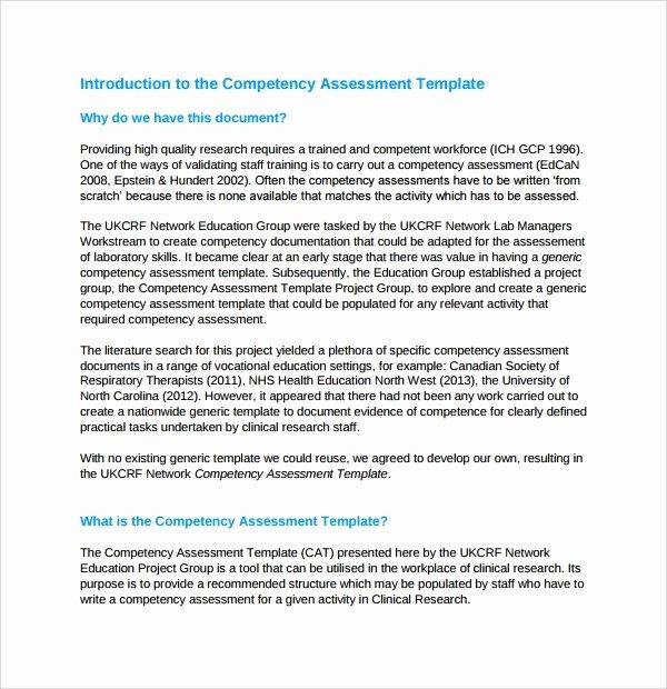 Nursing Competency assessment Template Unique Sample Petency assessment Template 6 Free Documents