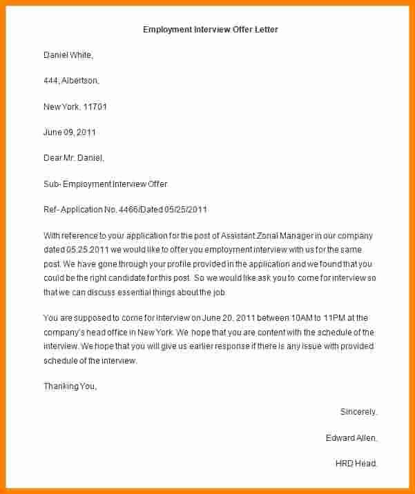 Offer Letter Template Word Elegant 9 Employment Offer Letter Template