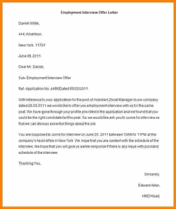 Offer Letter Template Word Elegant 9 Employment Offer Letter Template