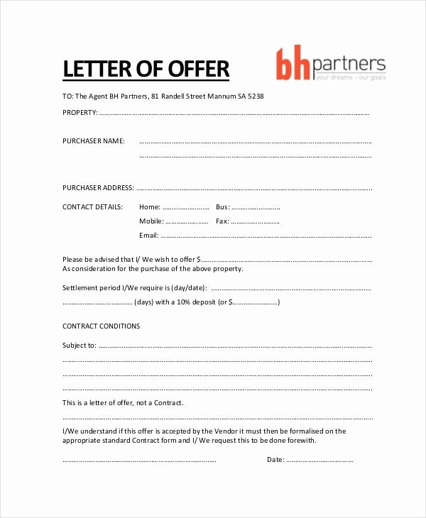 Offer Letter Template Word Unique Fer Letter Template