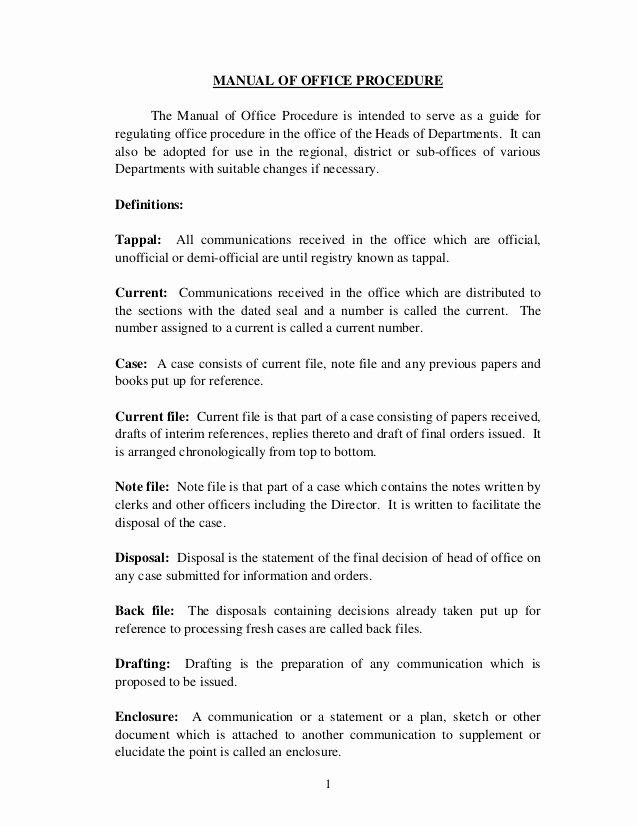 Office Procedures Manual Template Awesome District Fice Manual T J Joseph Additional Tahsildar