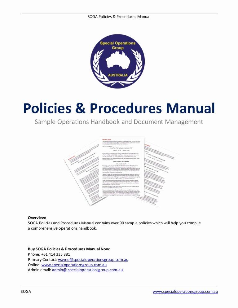 Office Procedures Manual Template Elegant soga Policies Procedures Manual software Sample