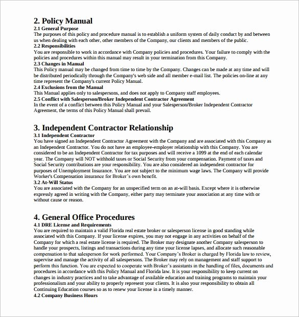 Office Procedures Manual Template Fresh Sample Policy Manual 9 Examples format