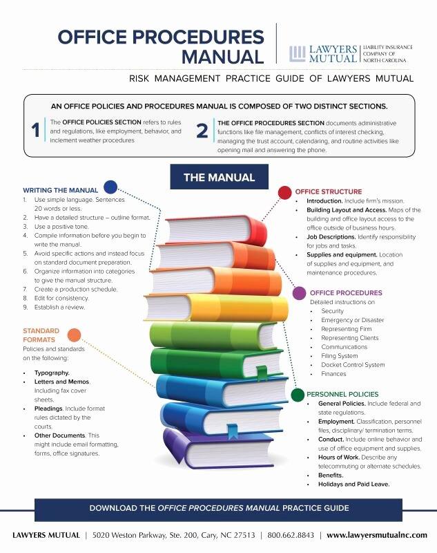 Office Procedures Manual Template Inspirational Fice Procedures Manual Infographic Lawyers Mutual