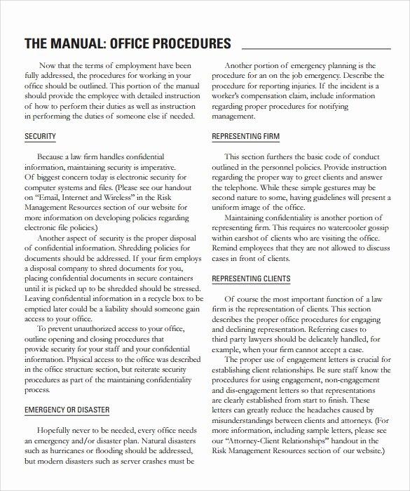 Office Procedures Manual Template Luxury Sample Fice Manual – 8 Documents In Pdf Word