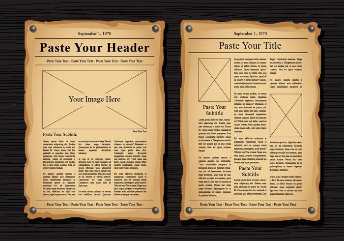 Old Newspaper Template for Word Unique Old Newspaper Vector Templates Download Free Vector Art