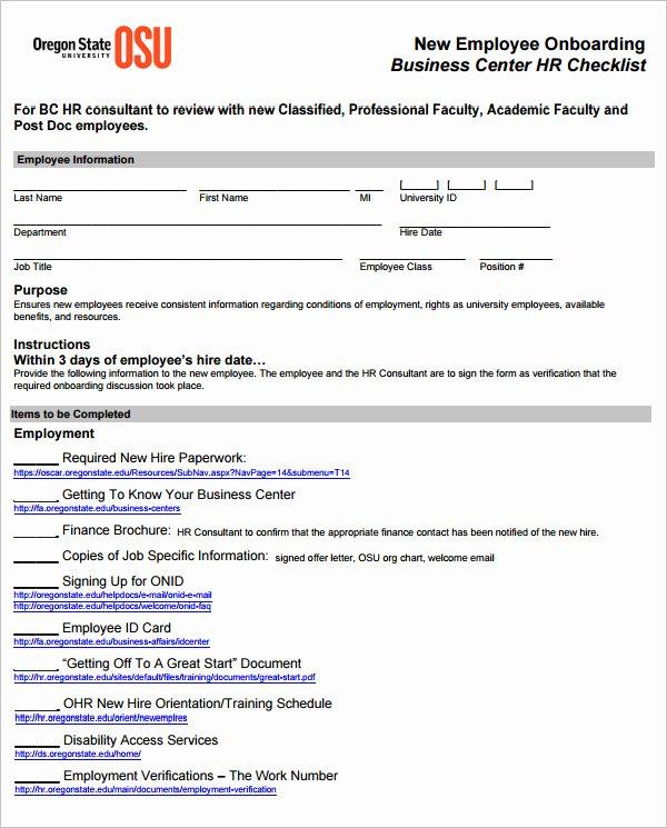 Onboarding Checklist Template Excel Elegant 26 Hr Checklist Templates Free Sample Example format