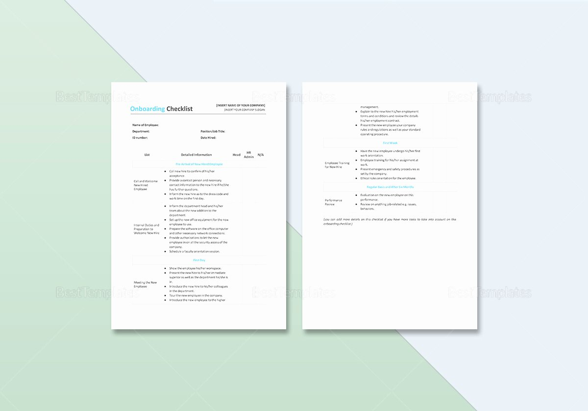 Onboarding Checklist Template Excel New Boarding Checklist Template In Word Excel Apple Pages