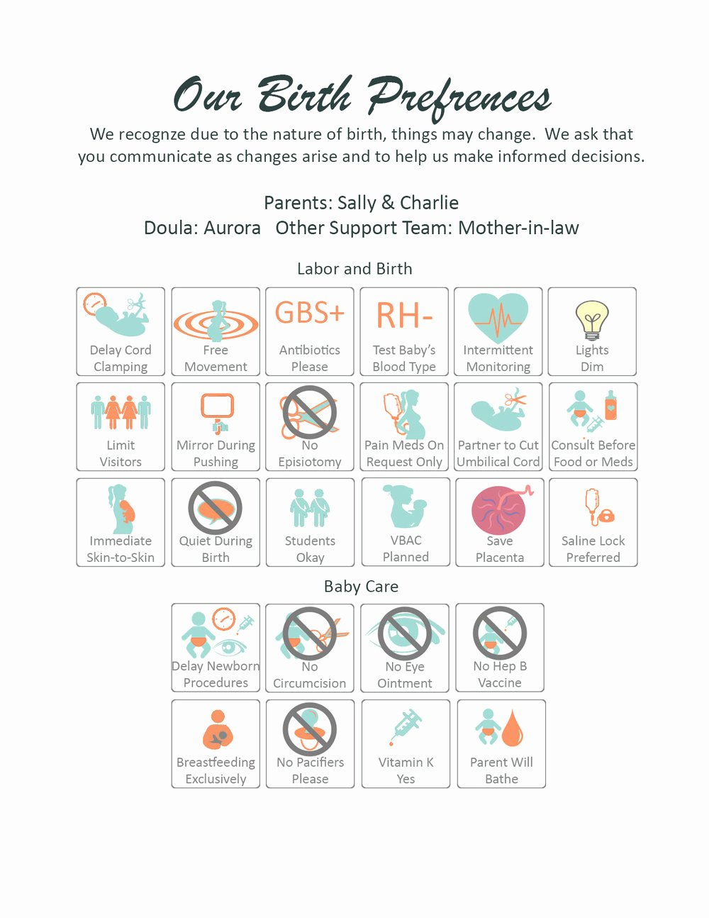 One Page Birth Plan Template Lovely Visual Birth Plans Birth Plans Nurses Will Love