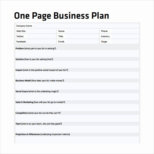 One Page Business Plan Template Awesome E Page Business Plan Template