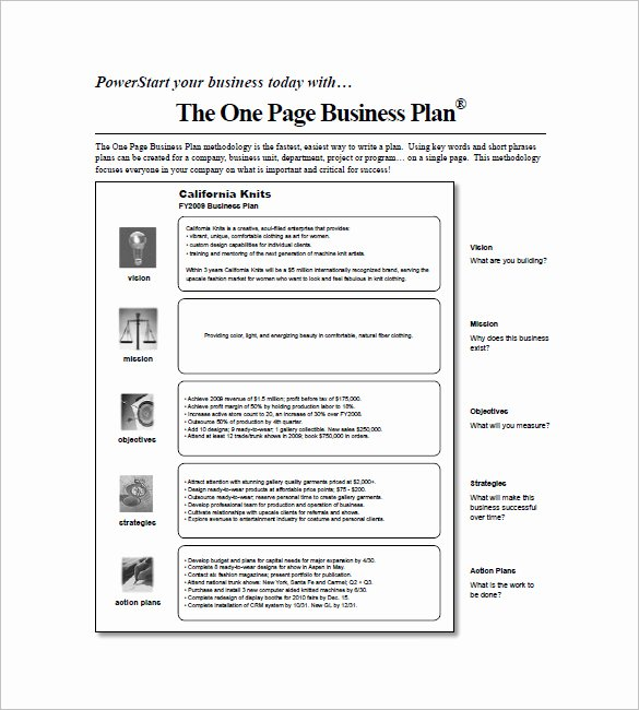 One Page Business Plan Template Beautiful E Page Business Plan Pdf