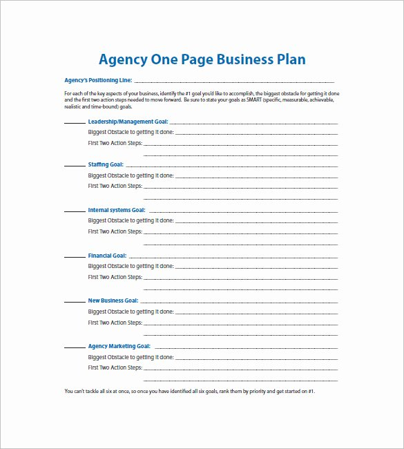 One Page Business Plan Template Best Of E Page Business Plan Template