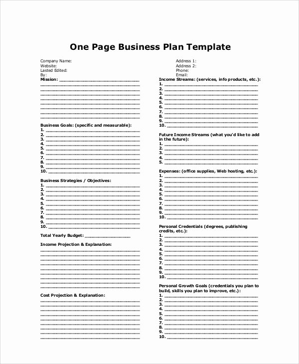 One Page Business Plan Template Fresh Sample Business Plan 11 Examples In Word Pdf