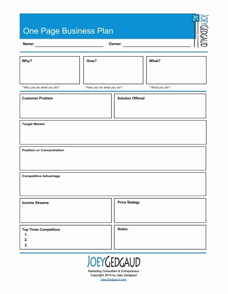 One Page Business Plan Template Lovely 1000 Images About Businessb Plan On Pinterest
