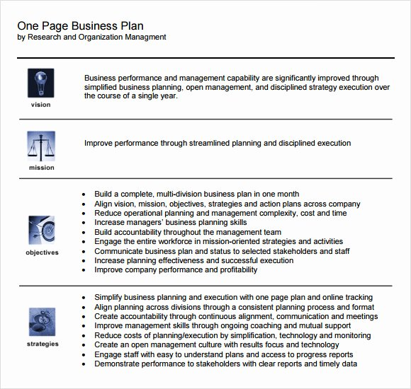 One Page Business Plan Template Luxury E Page Business Plan Template