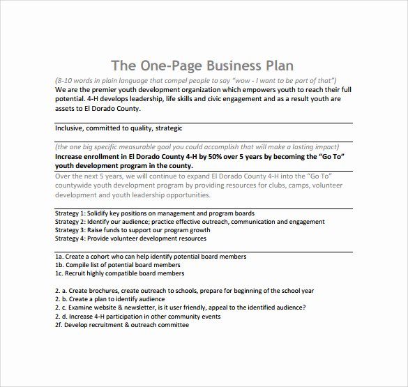 One Page Business Plan Template New E Page Business Plan Template