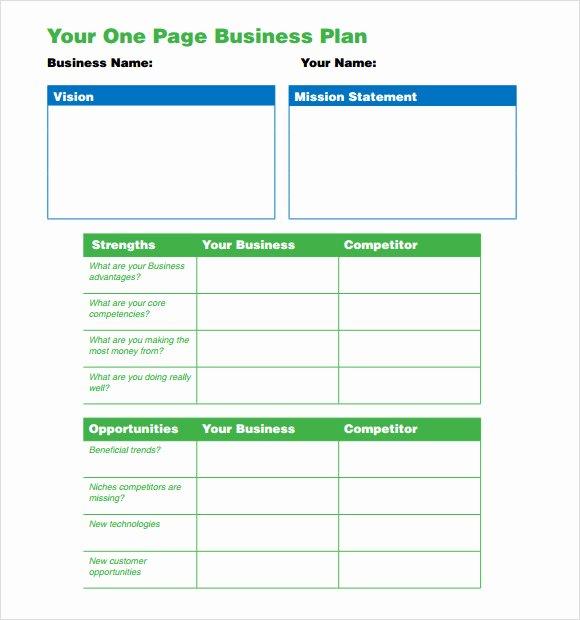 One Page Business Plan Template Unique E Page Business Plan Pdf