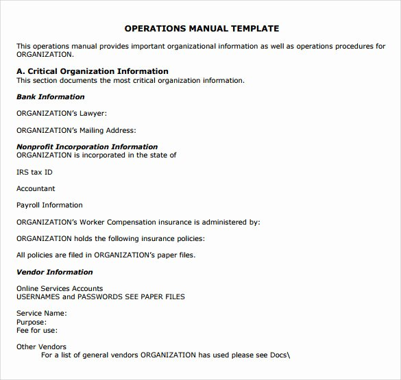 Operations Manual Template Free Lovely 9 Operations Manual Samples