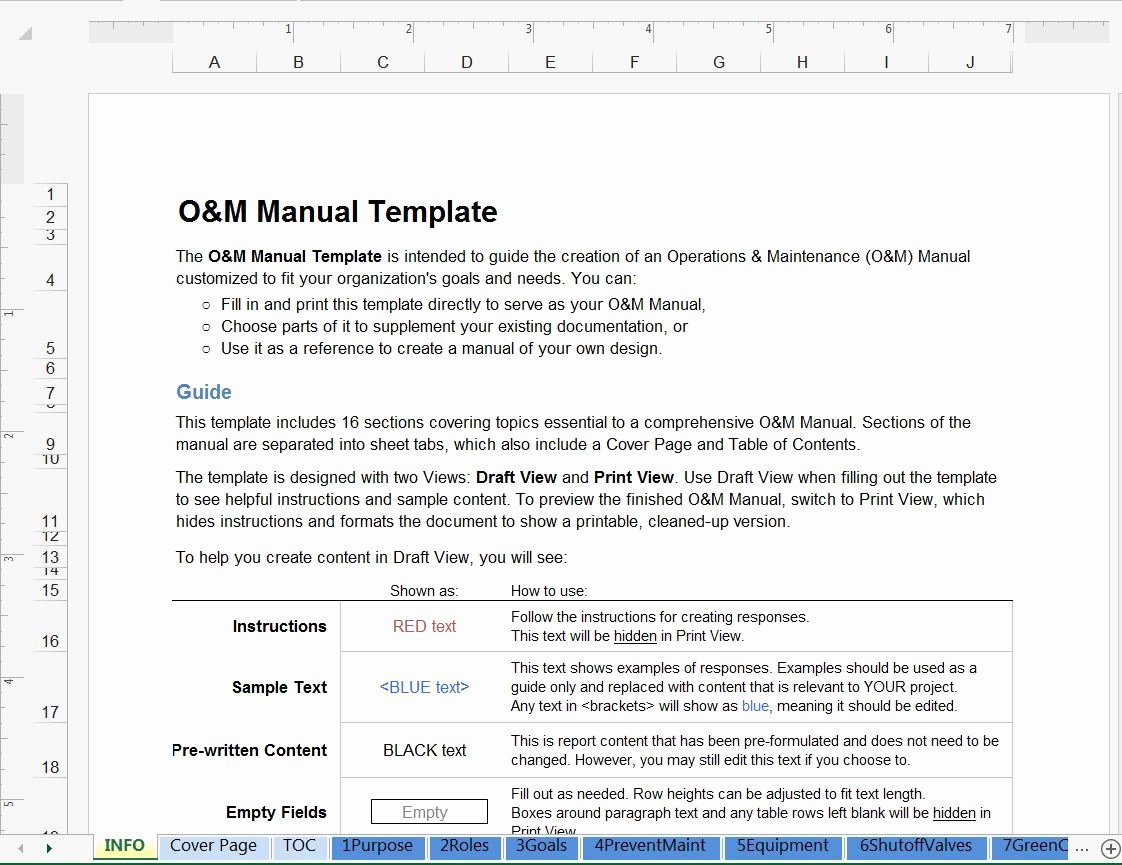 Operations Manual Template Free New Green Operations and Maintenance Manual Template