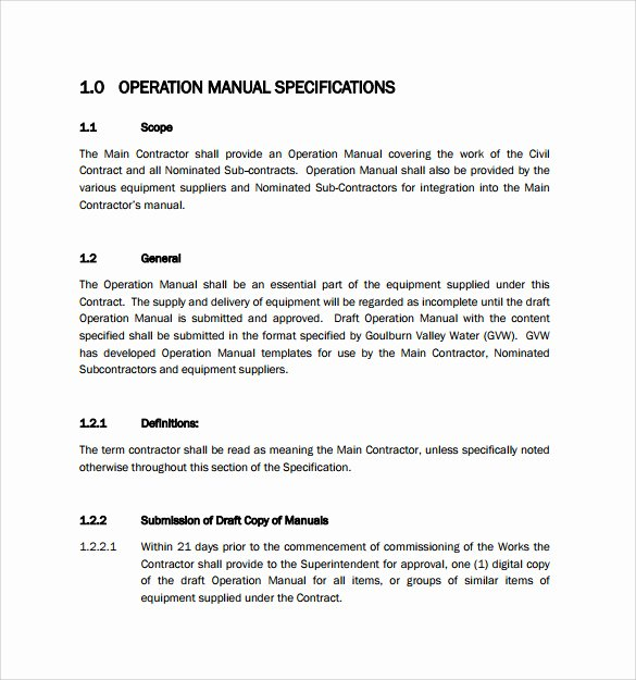 Operations Manual Template Free New Sample Operations Manual 8 Documents In Pdf Word