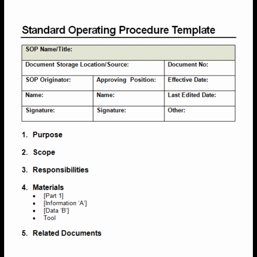Operations Manual Template Free Unique 9 Standard Operating Procedure sop Templates Word