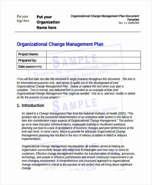Organizational Change Management Plan Template Awesome Free 57 Management Plan Examples In Pdf Word