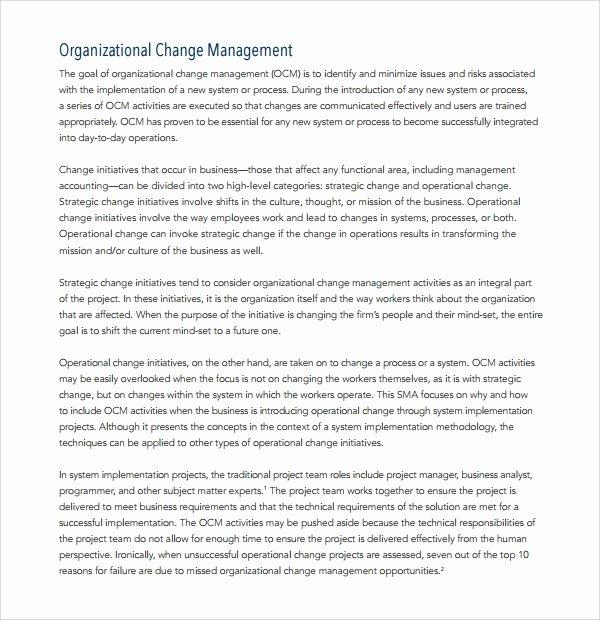 Organizational Change Management Plan Template Fresh 12 Change Management Plan Templates