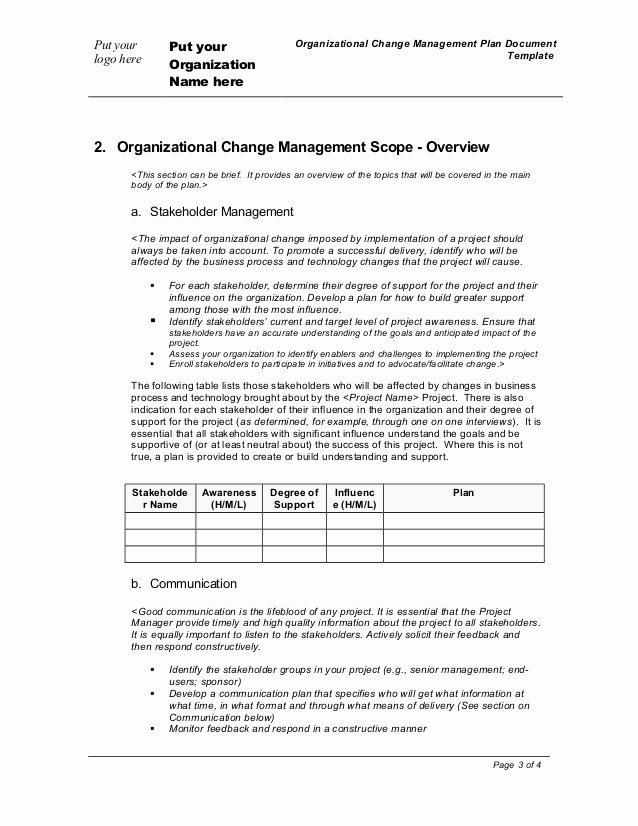 Organizational Change Management Plan Template Inspirational organization Change Management Plan Template