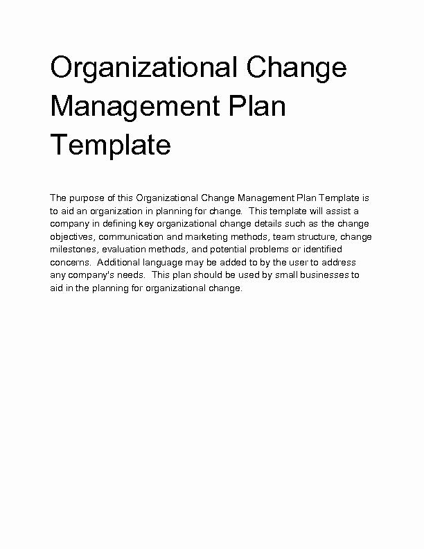 Organizational Change Management Plan Template Unique Wel E to Docs 4 Sale