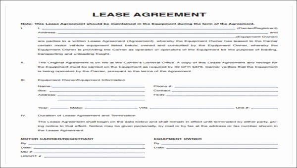 Owner Operator Lease Agreement Template Best Of 7 Owner Operator Lease Agreement Samples