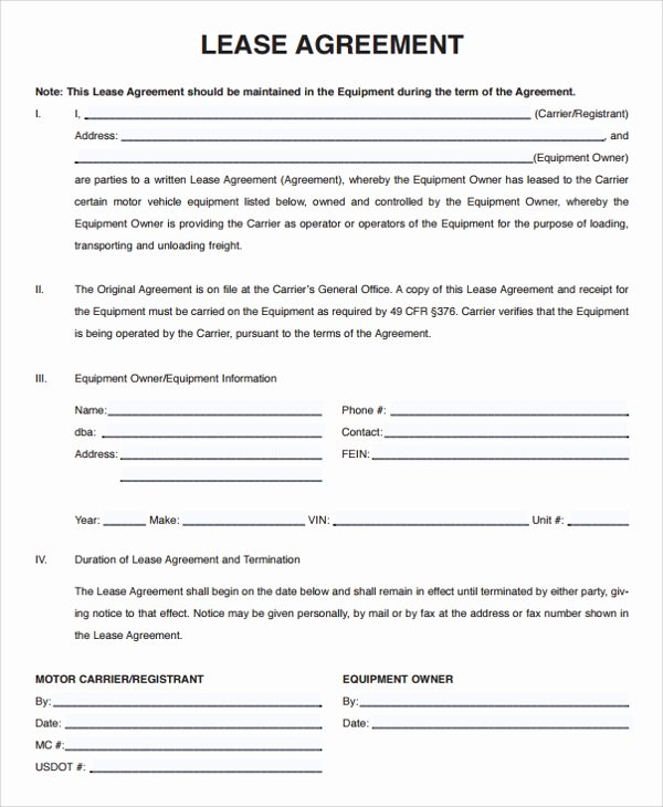 Owner Operator Lease Agreement Template Elegant 11 Owner Operator Lease Agreements Word Pdf