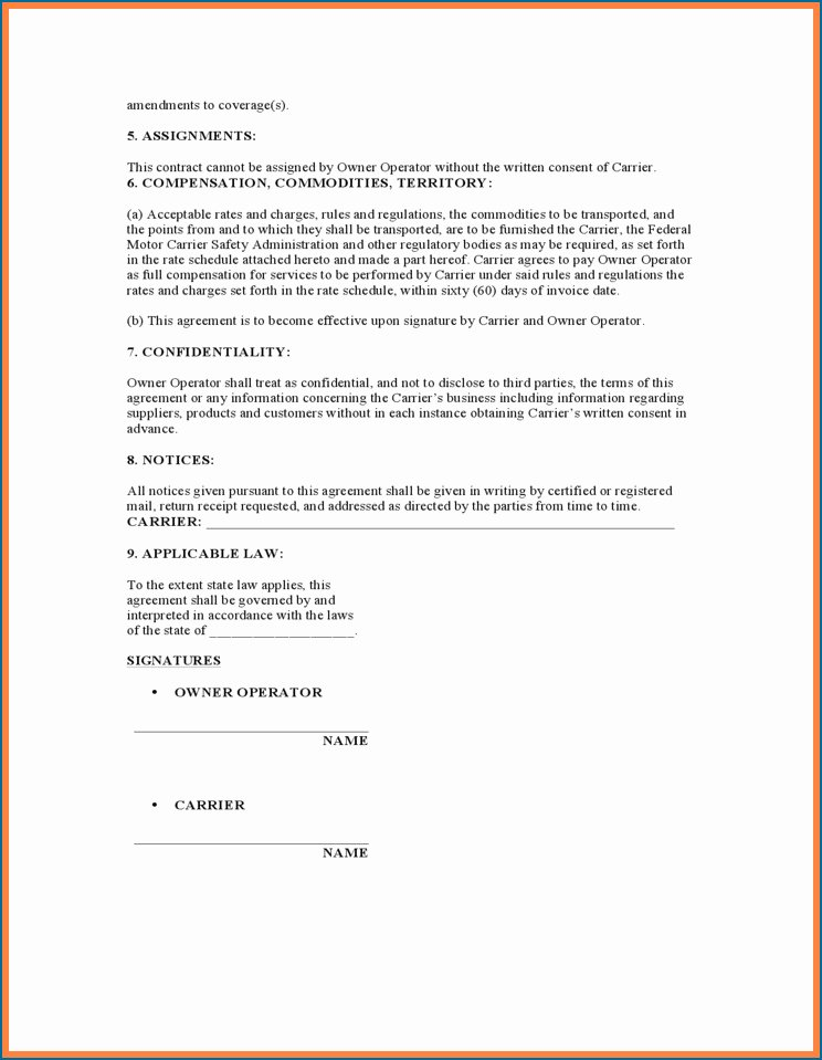 Owner Operator Lease Agreement Template Elegant New Lease Agreement Owner Operator Truck Drivers