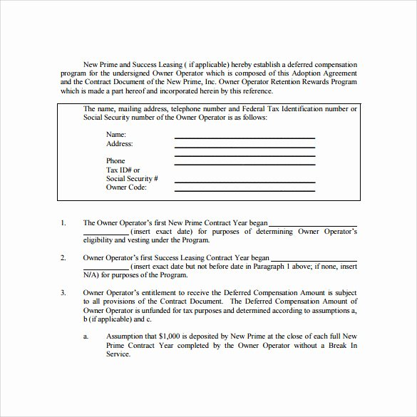 Owner Operator Lease Agreement Template Elegant Owner Operator Lease Agreement Templates 6 Samples