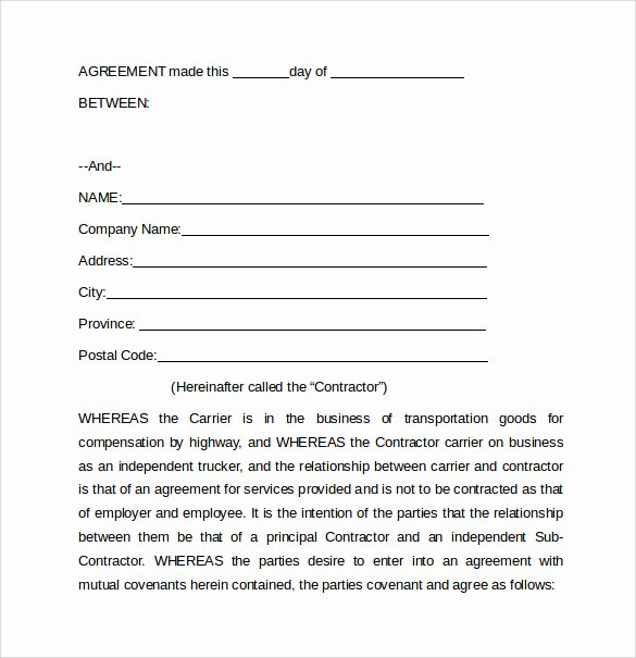 Owner Operator Lease Agreement Template Lovely 11 Owner Operator Lease Agreements Word Pdf