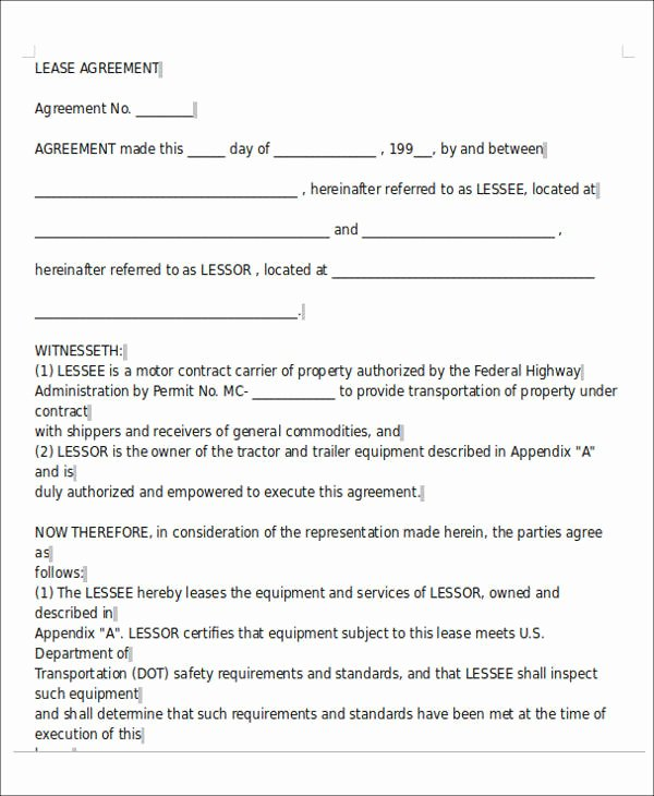 Owner Operator Lease Agreement Template New 8 Owner Operator Lease Agreement Sample Free Sample