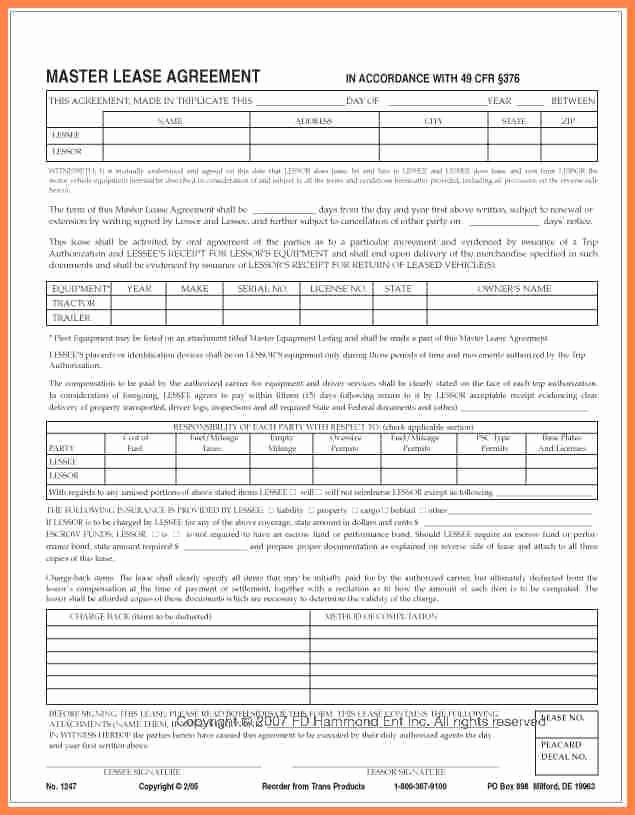 Owner Operator Lease Agreement Template New Owner Operator Lease Agreement Sample form original 7
