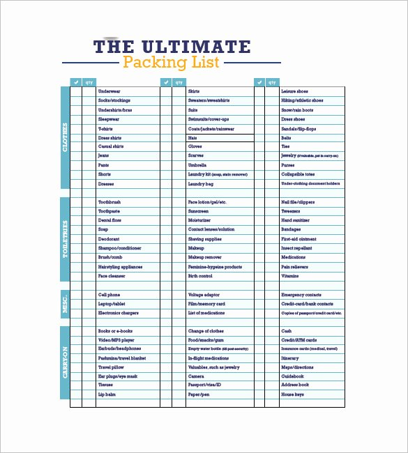 Packing List Template Pdf Beautiful Packing List Template 10 Free Word Excel Pdf format