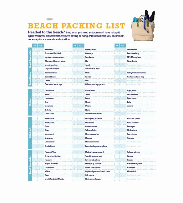 Packing List Template Pdf Inspirational Packing List Template 10 Free Word Excel Pdf format