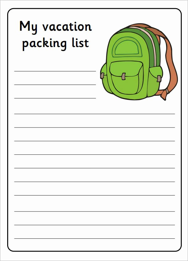 Packing List Template Pdf Lovely Free 6 Packing List Templates In Pdf