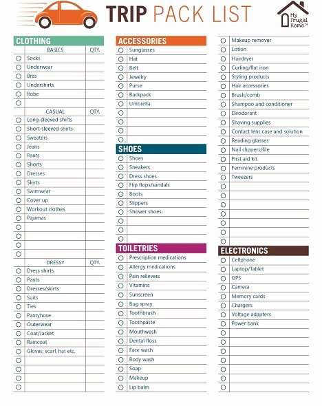 Packing List Template Pdf Luxury Printable Trip Pack List Get organized In 2019