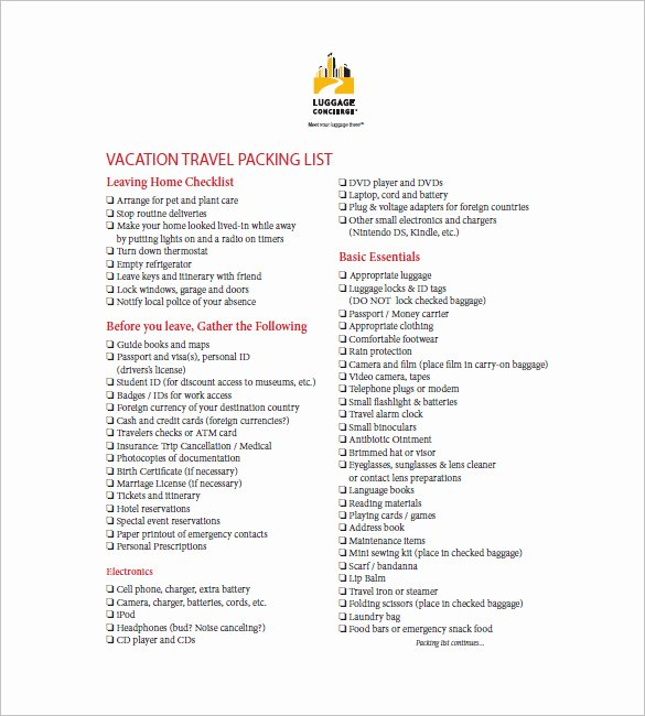 Packing List Template Pdf Unique Packing List Template 10 Free Word Excel Pdf format