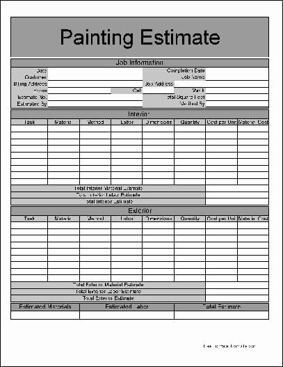Painting Estimate Template Excel Best Of Printable Job Estimate forms