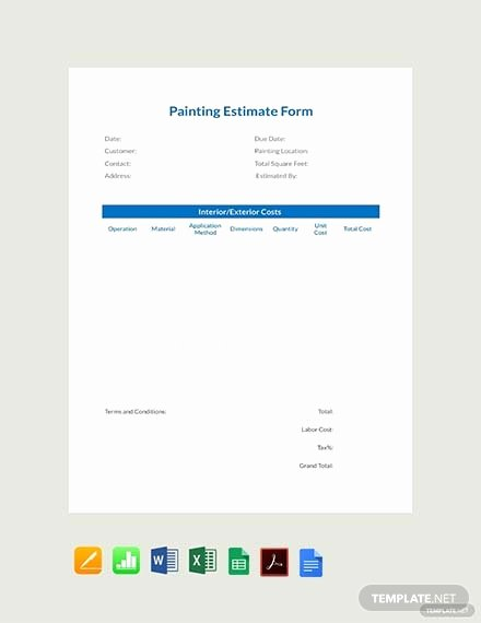 Painting Estimate Template Excel Lovely 51 Free Estimate Sheet Templates Pdf Word