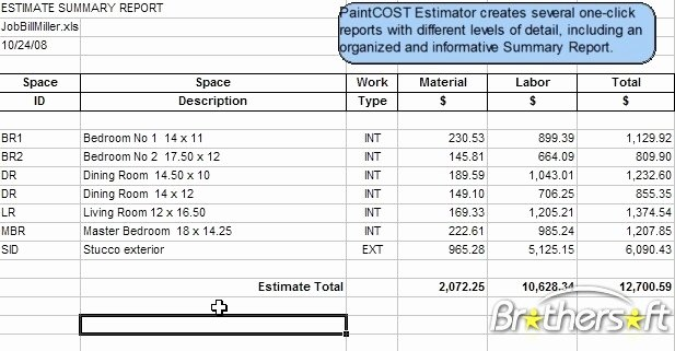 Painting Estimate Template Excel Lovely Download Free Paintcost Estimator for Excel Paintcost