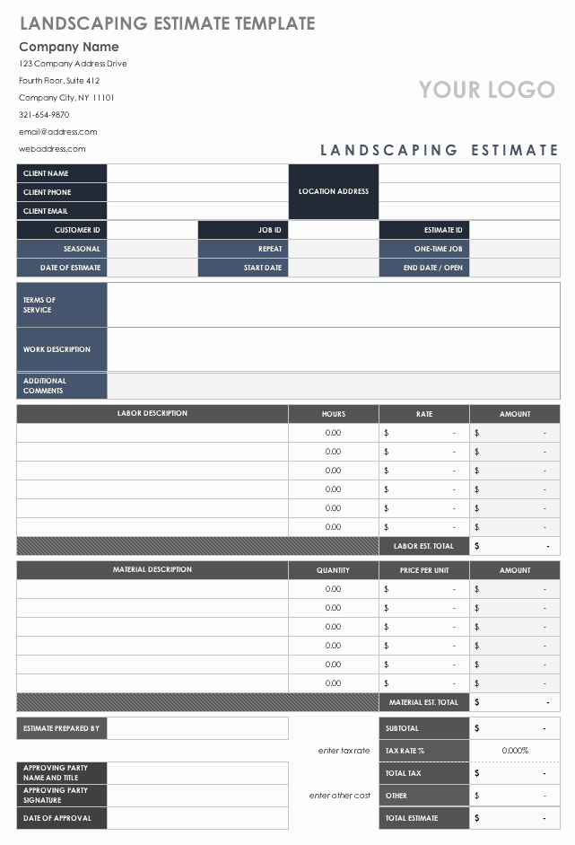 Painting Estimate Template Excel New Free Estimate Templates