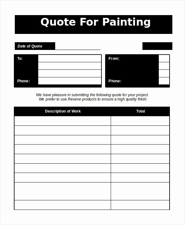 Painting Estimate Template Excel Unique Word Estimate Template 5 Free Word Documents Download