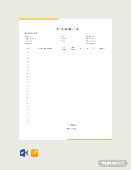 Panel Schedule Template Excel Beautiful Free Lx Series Panel Schedule Template Download 128