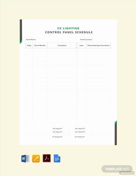 Panel Schedule Template Excel Elegant Free Electrical Panel Schedule Template Download 173